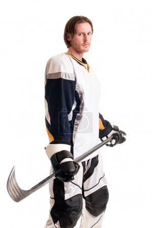 Photo for Roller hockey player. Studio shot over white. - Royalty Free Image