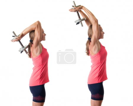 Photo for Overhead triceps extension exercise. Studio shot over white. - Royalty Free Image