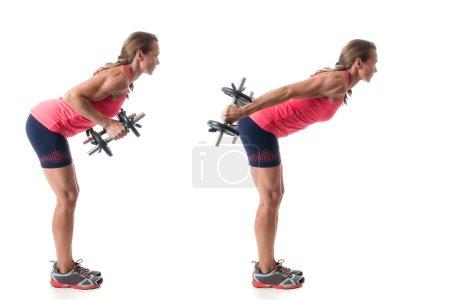 Photo for Triceps kickback exercise. Studio shot over white. - Royalty Free Image
