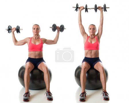 Photo for Stability ball exercise. Studio shot over white. - Royalty Free Image
