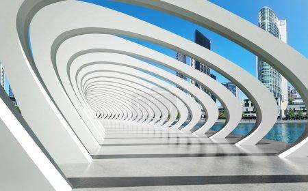 Futuristic exterior structure under arcs on river