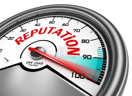 Reputation conceptual meter indicate hundred per cent