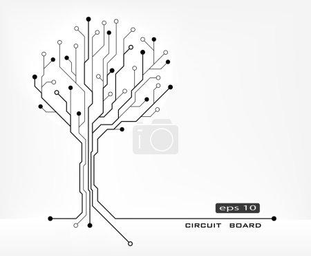 Illustration pour Arbre forme abstraite circuit imprimé vecteur fond - image libre de droit