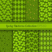 Collection of St Patrick's Day themed seamless patterns