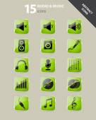 Collection of green audio and music icons under glass