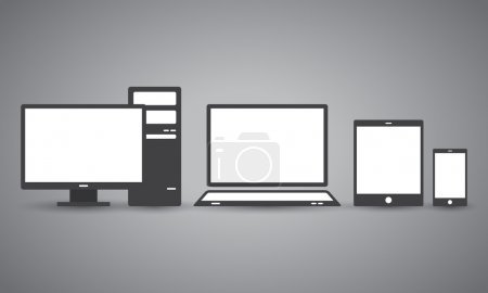 Collection of various displays of different sizes in flat design in black and white colours