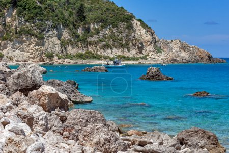 Small Boat in the Blue waters of Ionian sea, near Agios Nikitas