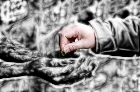 Image of human hand giving coin