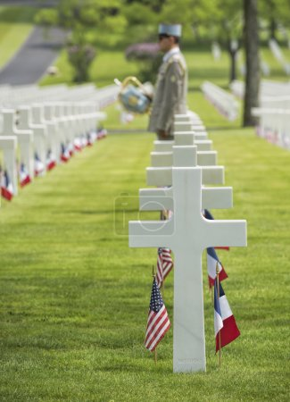 Memorial day at American cemetery in France