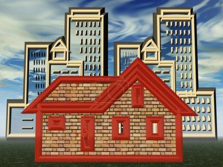 Photo pour Construction de maisons et de bâtiments sur fond imité ciel - image libre de droit