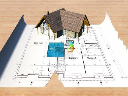 Photo pour Plan architectural pour la maison de construction, illustration - image libre de droit