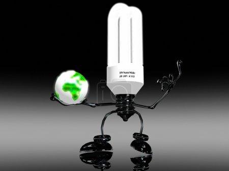 Photo pour Ampoule et terre - image libre de droit
