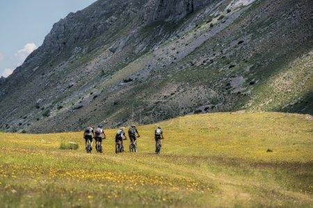 Five mountain bikers