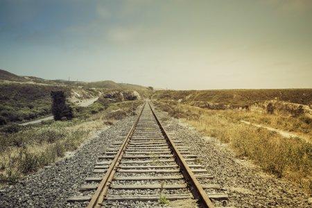 Vintage railroad with light leak