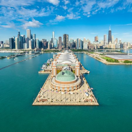 Chicago Skyline aerial view with famous Pier