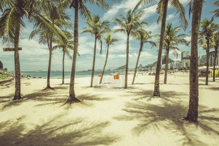 Palms with shadows on Copacabana Beach
