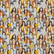 Big group women seamless pattern Only women. Big crowd with happy young pretty unrecognizable women. Color vector illustration.