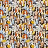 Big group women seamless pattern Only women Big crowd with happy young pretty unrecognizable women Color vector illustration