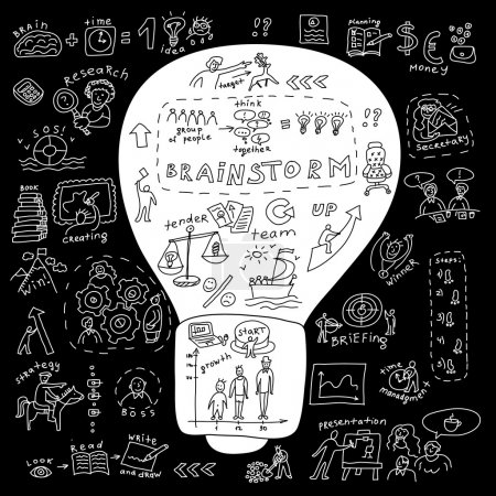 Illustration for Business idea bulb Metaphor illustration about business idea with bulb and set of draw icons. Doodles black and white illustration. - Royalty Free Image