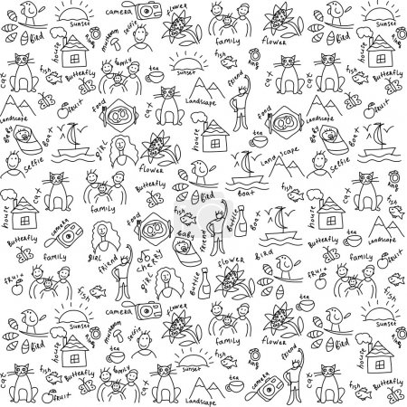 Illustration for Casual objects seamless pattern Draw of usual objects, which often take a photo on the camera. Black and white vector seamless pattern. - Royalty Free Image