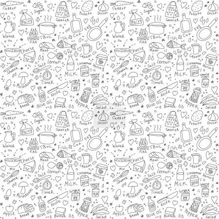 Photo pour Objets de cuisine gribouillis motif sans couture Illustration vectorielle noir et blanc - image libre de droit