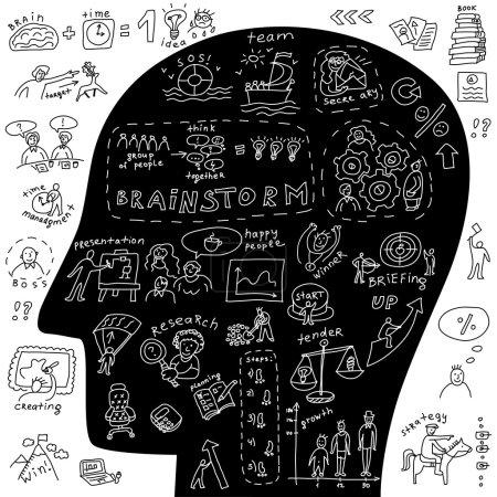 Photo pour Chef d'entreprise icônes et gribouillis Illustration vectorielle noir et blanc sur les entreprises avec gribouillis ensemble d'icônes et tête humaine . - image libre de droit