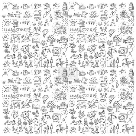 Illustration pour Seamless pattern with collection of icons and symbols with hand-drawn doodles people. Good design elements for funny presentation. Black and white vector illustration. - image libre de droit