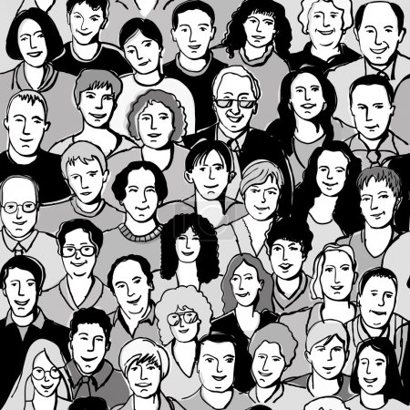 Illustration for Seamless pattern unrecognizable people faces in crowd Crowd of unrecognizable people. Seamless pattern. Black and white vector illustration. - Royalty Free Image