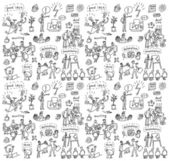 People in office seamless pattern Big group of unrecognizable business people working and creating in the office Seamless pattern Black and white doodles vector illustration