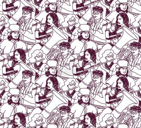 Orchestra band seamless pattern