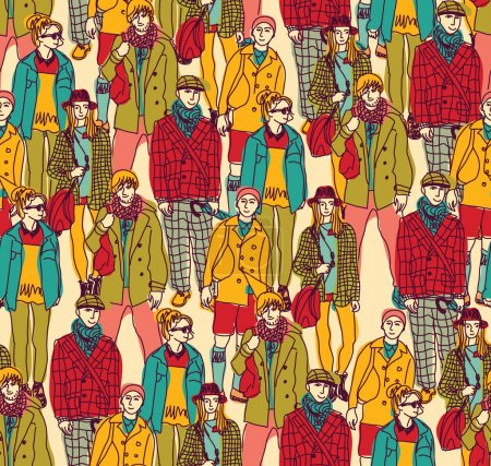 Hipster fashion crowd of people