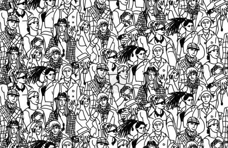 Illustration pour Heureux les gens de la mode en grand groupe. Modèle sans couture. illustration vectorielle noir et blanc - image libre de droit