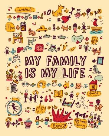 Photo pour Grand ensemble de signes et d'icônes de la famille. Illustration vectorielle couleur - image libre de droit