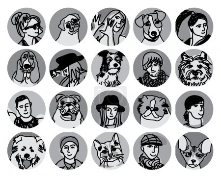 round icons with people and domestic animals
