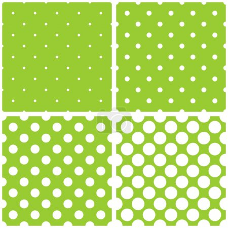 Tile vector pattern set with white polka dots on fresh green background