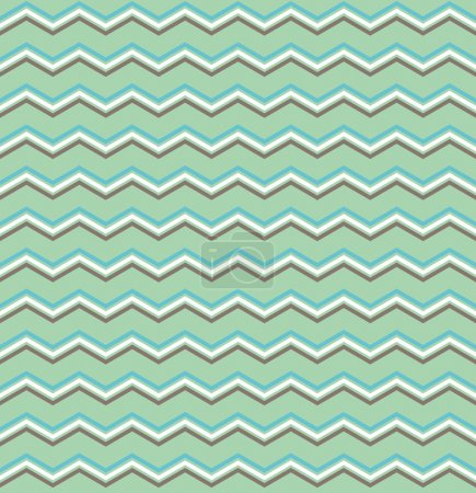Tile vector pattern with blue, brown and white zig zag print on mint green background