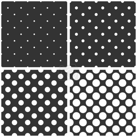 Illustration for Seamless black and white vector pattern or tile background set with big and small polka dots. For desktop wallpaper and website design. - Royalty Free Image