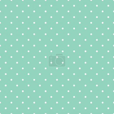 Illustration for Seamless vector pattern with white polka dots on a retro mint green background. For desktop wallpaper, web design, cards, invitations, wedding or baby shower albums, backgrounds, arts and scrapbooks - Royalty Free Image