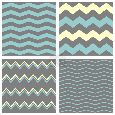 Tile chevron vector pattern set with grey, blue and yellow zig zag background