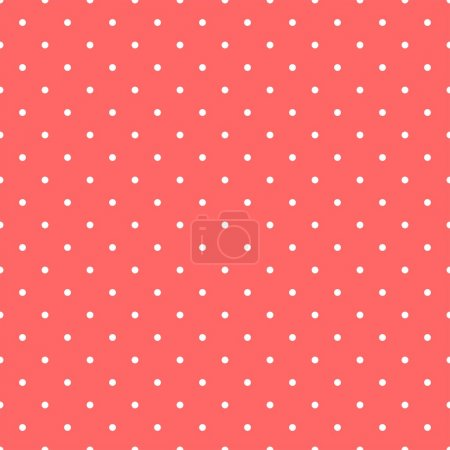 Tile vector pattern with small white polka dots on pastel red background