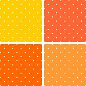 Tile summer vector pattern set with white polka dots on pastel pink orange yellow background