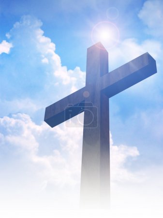 Photo for A cross on clouds background - Royalty Free Image