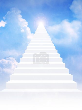 Photo for Stairway leading up to bright light above the sky - Royalty Free Image