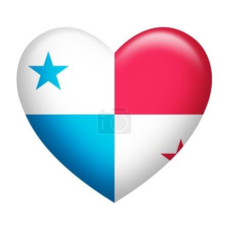 Photo pour En forme de cœur de pavillon de Panama isolé sur blanc - image libre de droit