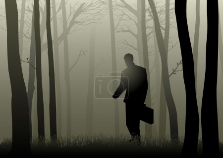 Illustration for Silhouette of a man with suitcase walking in the dark forest, lost, confuse, crisis concept - Royalty Free Image
