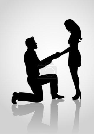 Illustration pour Silhouette d'un homme agenouillé et tenant la main d'une femme debout, pour demander en mariage, moment romantique, thème amoureux - image libre de droit