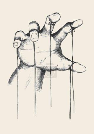 Sketch illustration of puppet master hand...
