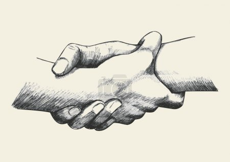 Illustration for Sketch illustration of two hands holding each other strongly - Royalty Free Image