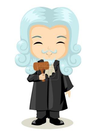 Illustration pour Mignon dessin animé illustration d'un juge - image libre de droit