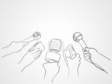 Line Art Illustration of Journalists